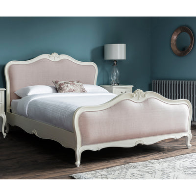Debonair Collection Linen Upholstered Bed Jasmine White - Husoe Home