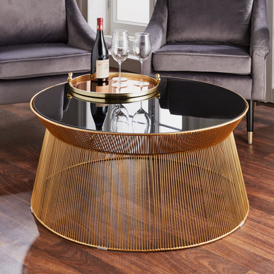 The Curve Black and Gold Coffee Table - Husoe Home