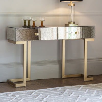 Moire Mirrored Console Table - Husoe Home