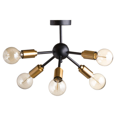 Black And Brass Six Bulb Bomb Light - Husoe Home