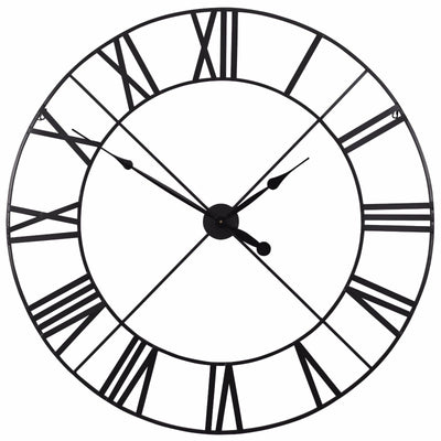 Extra Large 110cm Black Metal Wall Clock - Husoe Home