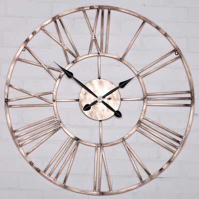 Vintage Copper Effect 92cm Wall Clock - Husoe Home