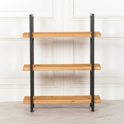 Rustic Wooden Industrial 3 Tier Bookcase Shelving - Husoe Home