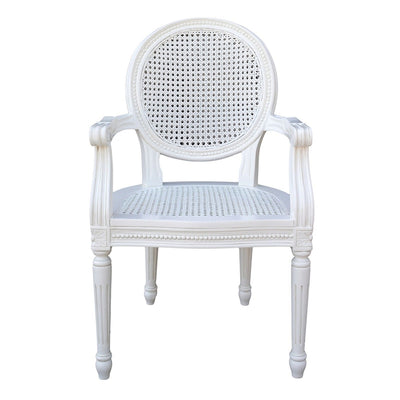 Chateau White Rattan Dining / Bedroom Arm Chair - Husoe Home