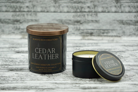 Cedar Leather Soy Candle