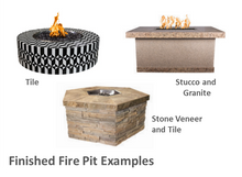"Load image into Gallery viewer, The Outdoor Plus 84"" x 84"" x 16"" Ready-to-Finish Square Gas Fire Pit Kit + Free Cover - The Fire Pit Collection"