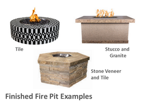 "The Outdoor Plus 60"" x 24"" x 24"" Ready-to-Finish Rectangular Gas Fire Pit Kit + Free Cover - The Fire Pit Collection"