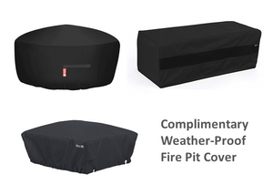 "The Outdoor Plus 48"" x 24"" Ready-to-Finish Round Gas Fire Table Kit + Free Cover - The Fire Pit Collection"