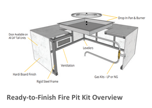 "The Outdoor Plus 60"" x 30"" x 24"" Ready-to-Finish Rectangular Gas Fire Table Kit + Free Cover - The Fire Pit Collection"