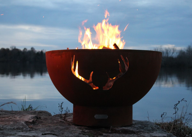 Fire Pit Art Antlers Fire Pit + Free Weather-Proof Fire Pit Cover - The Fire Pit Collection