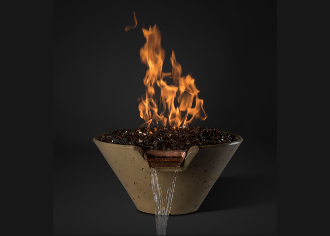 Slick Rock Concrete Cascade Conical Fire on Glass Water Bowl with Electronic Ignition