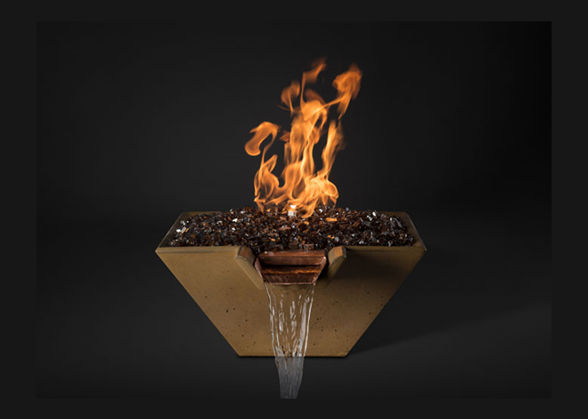 Slick Rock Concrete Cascade Square Fire on Glass Water Bowl with Match Ignition