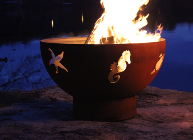 Fire Pit Art Sea Creatures Fire Pit + Free Weather-Proof Fire Pit Cover - The Fire Pit Collection