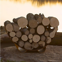 Load image into Gallery viewer, Fire Pit Art Crescent Log Rack - The Fire Pit Collection