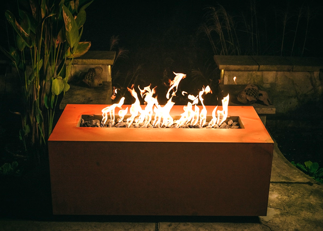 Fire Pit Art Linear Fire Table + Free Weather-Proof Fire Pit Cover - The Fire Pit Collection