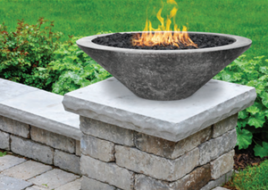 "Fire Bowl  31"" Embarcadero Pedestal with Electronic Ignition - Free Cover ✓ [Prism Hardscapes]"