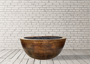 "Copper Fire Bowl 39"" Moderno 1 with Electronic Ignition - Free Cover ✓ [Prism Hardscapes]"
