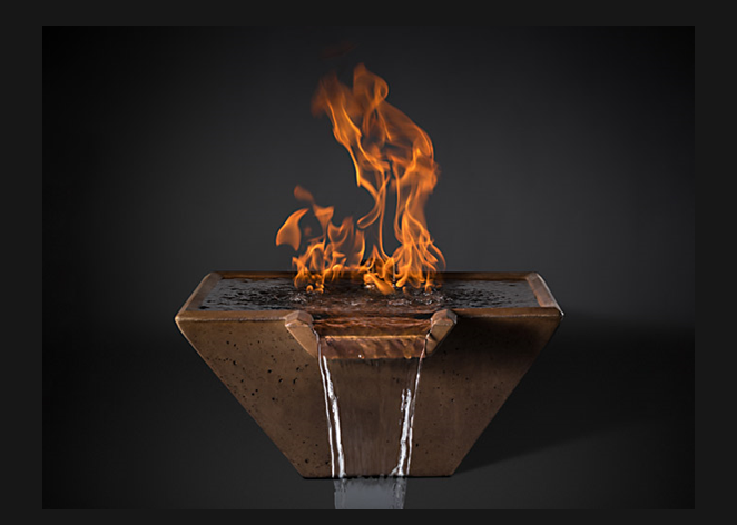 Slick Rock Concrete Cascade Square Fire on Water Bowl with Electronic Ignition