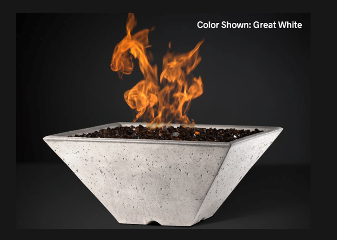 Slick Rock Concrete Ridgeline Square Fire Bowl with Match Ignition