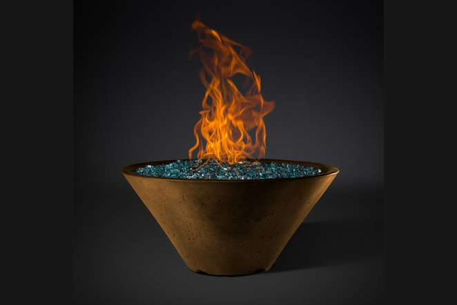 Slick Rock Concrete Ridgeline Conical Fire Bowl with Match Ignition