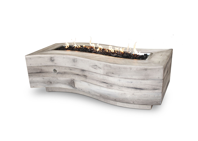 The Outdoor Plus Big Sur Wood Grain Concrete Fire Pit + Free Cover - The Fire Pit Collection