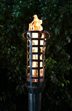 Load image into Gallery viewer, The Outdoor Plus Box Weave Fire Torch / Stainless Steel + Free Cover - The Fire Pit Collection
