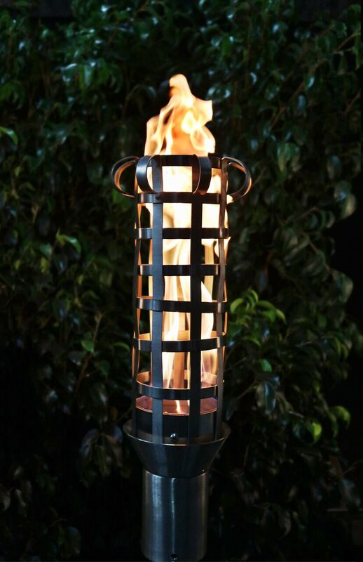 The Outdoor Plus Box Weave Fire Torch / Stainless Steel + Free Cover - The Fire Pit Collection