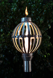 The Outdoor Plus Globe Fire Torch / Stainless Steel + Free Cover - The Fire Pit Collection