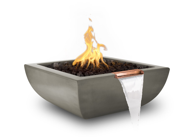 The Outdoor Plus Avalon Concrete Fire & Water Bowl + Free Cover - The Fire Pit Collection