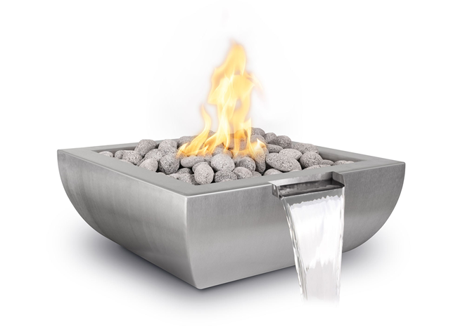 The Outdoor Plus Avalon Stainless Steel Fire & Water Bowl + Free Cover - The Fire Pit Collection