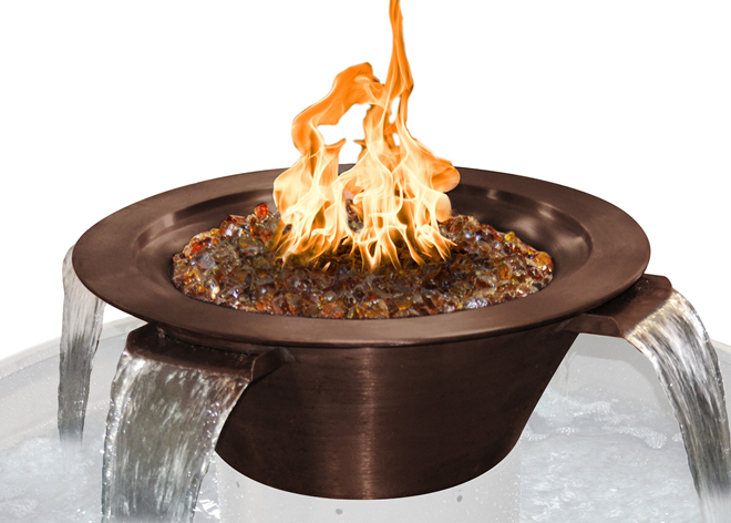 The Outdoor Plus Cazo 4-Way Copper Fire & Water Bowl + Free Cover - The Fire Pit Collection