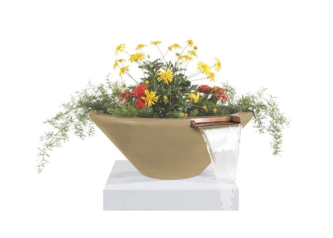 The Outdoor Plus Cazo Concrete Planter Bowl with Water - The Fire Pit Collection