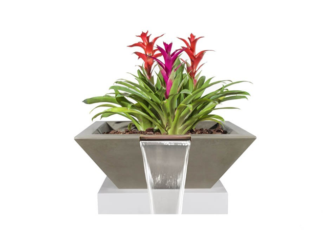 The Outdoor Plus Maya Concrete Planter Bowl with Water - The Fire Pit Collection