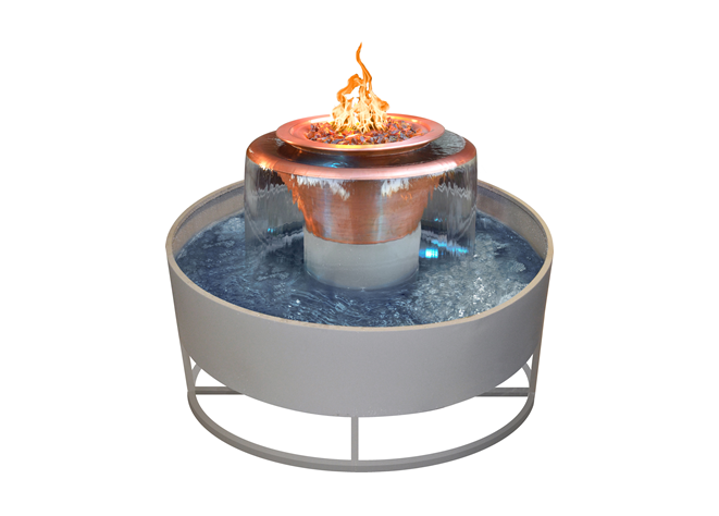 The Outdoor Plus Olympian Round 360° Copper Fire & Water Bowl + Free Cover - The Fire Pit Collection