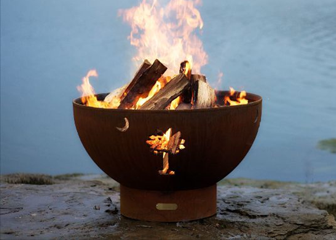 Fire Pit Art Tropical Moon Fire Pit + Free Weather-Proof Fire Pit Cover - The Fire Pit Collection
