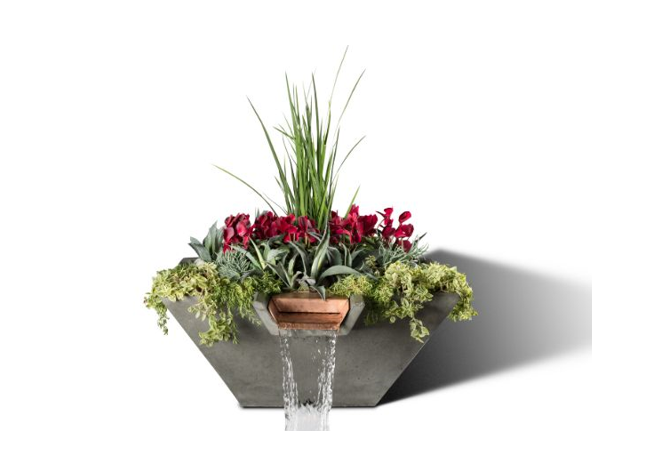 Slick Rock Concrete Cascade Square Planter and Water Bowl