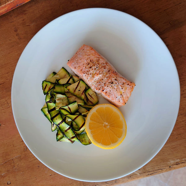 Roasted Salmon with chargrilled courgettes