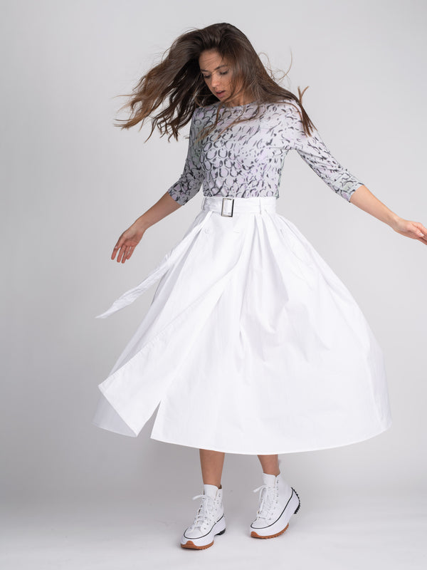 BELTED BUTTON SKIRT