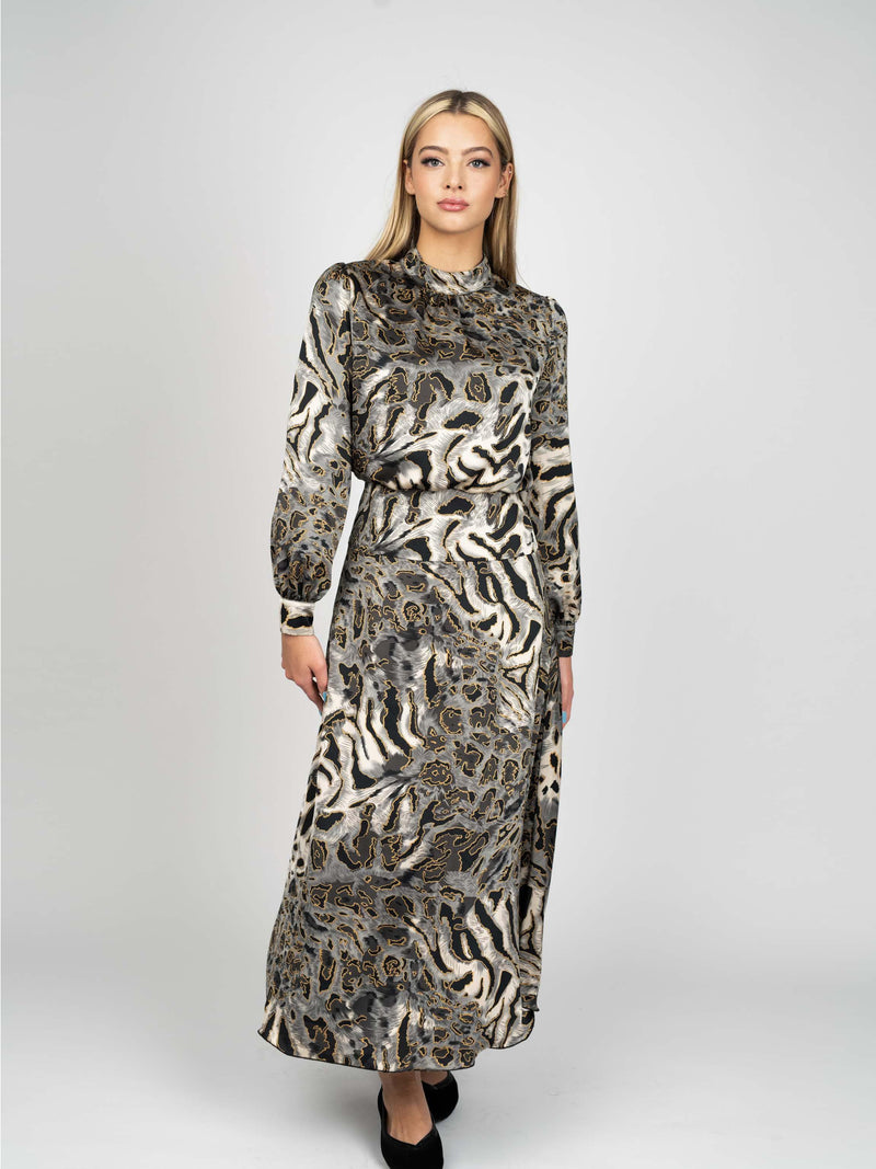 PRINTED SILK DRESS-Fame on Central