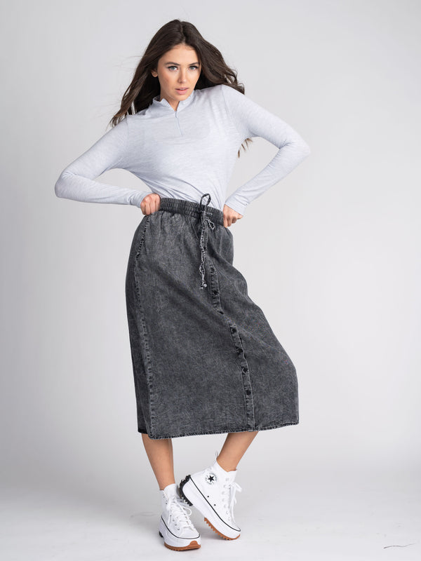 STONE WASHED DENIM SKIRT