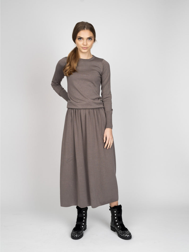 GATHERED KNIT SKIRT - LONG - 70%OFF!-Fame on Central