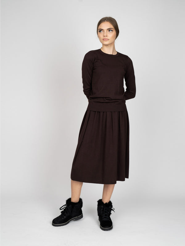 GATHERED KNIT SKIRT - SHORT