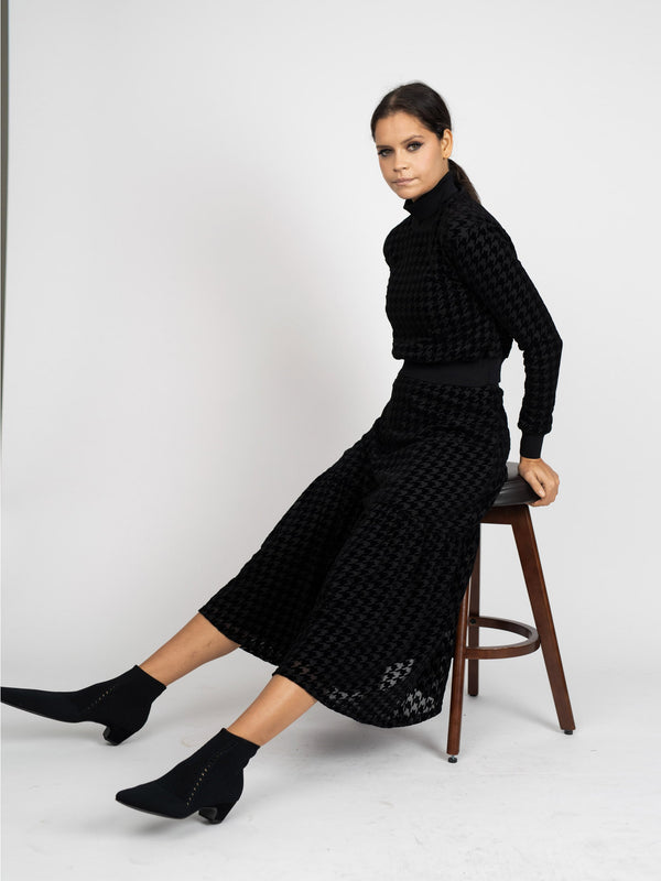 VELVET HOUNDSTOOTH SKIRT-Fame on Central