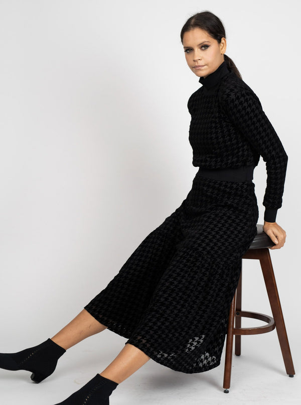 VELVET HOUNDSTOOTH TOP-Fame on Central