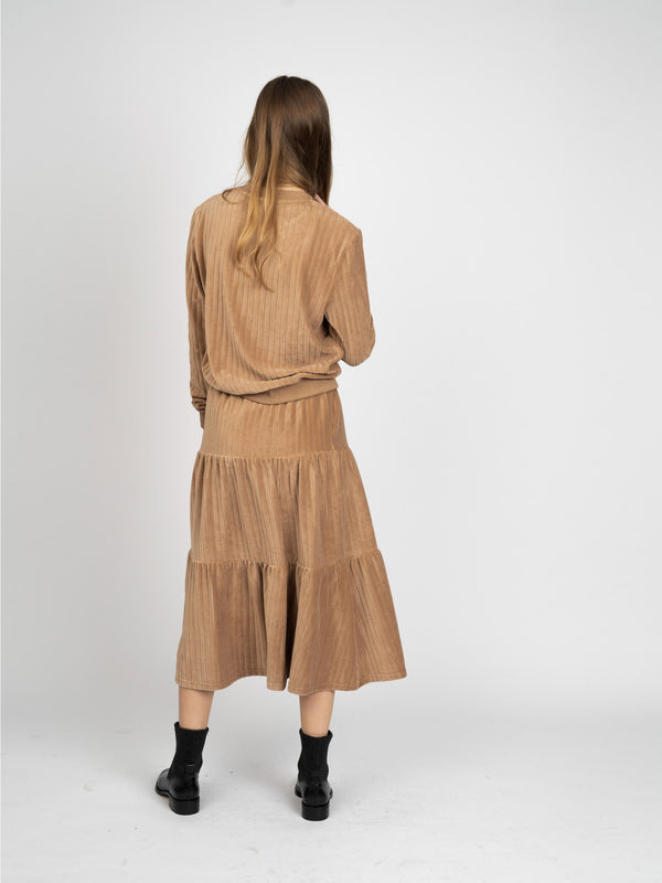 VELOUR RIB SKIRT - MIDI- 70% OFF!-Fame on Central