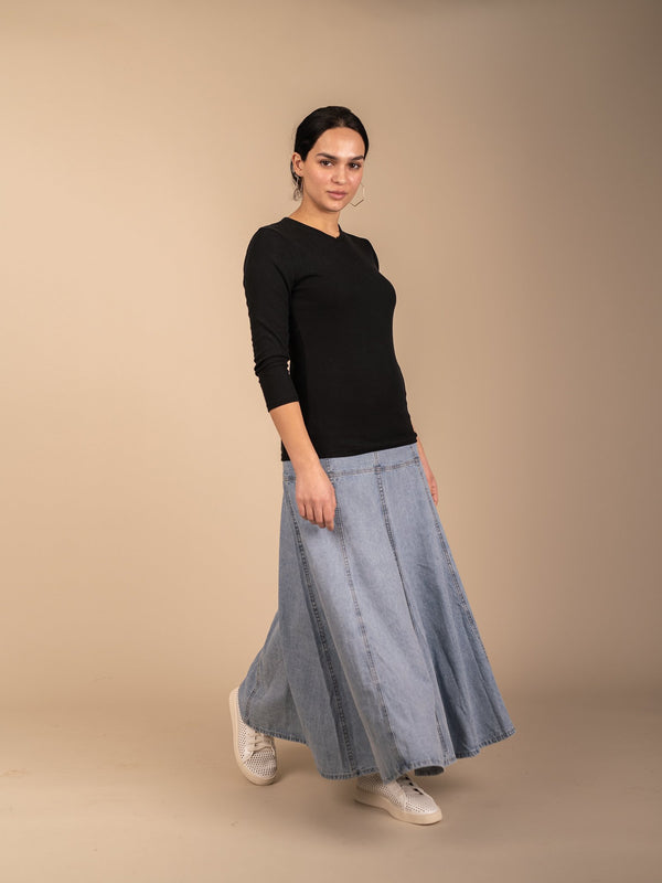 PANELED DENIM SKIRT-Fame on Central