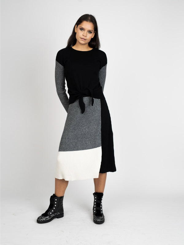 COLORBLOCK KNIT SKIRT - 70% OFF!-Fame on Central