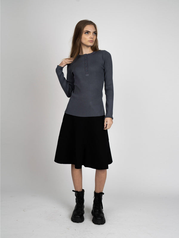 HENLEY RIBBED SWEATER-Fame on Central