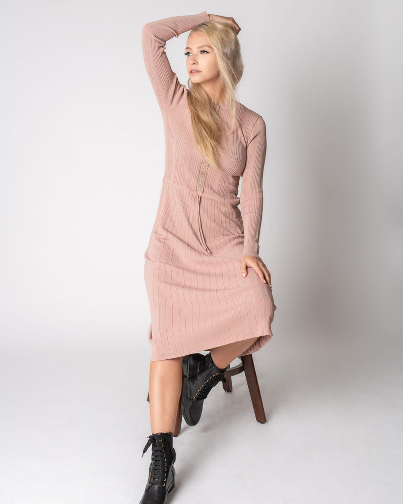 DRAWSTRING KNIT DRESS-Fame on Central