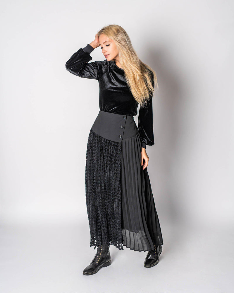 HOUNDSTOOTH WRAP SKIRT- 70% OFF!-Fame on Central